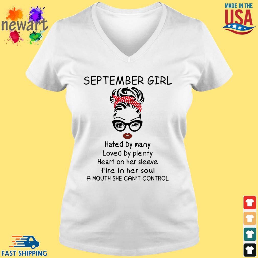 September girl hated by many loved by plenty heart on her sleeve vneck trang