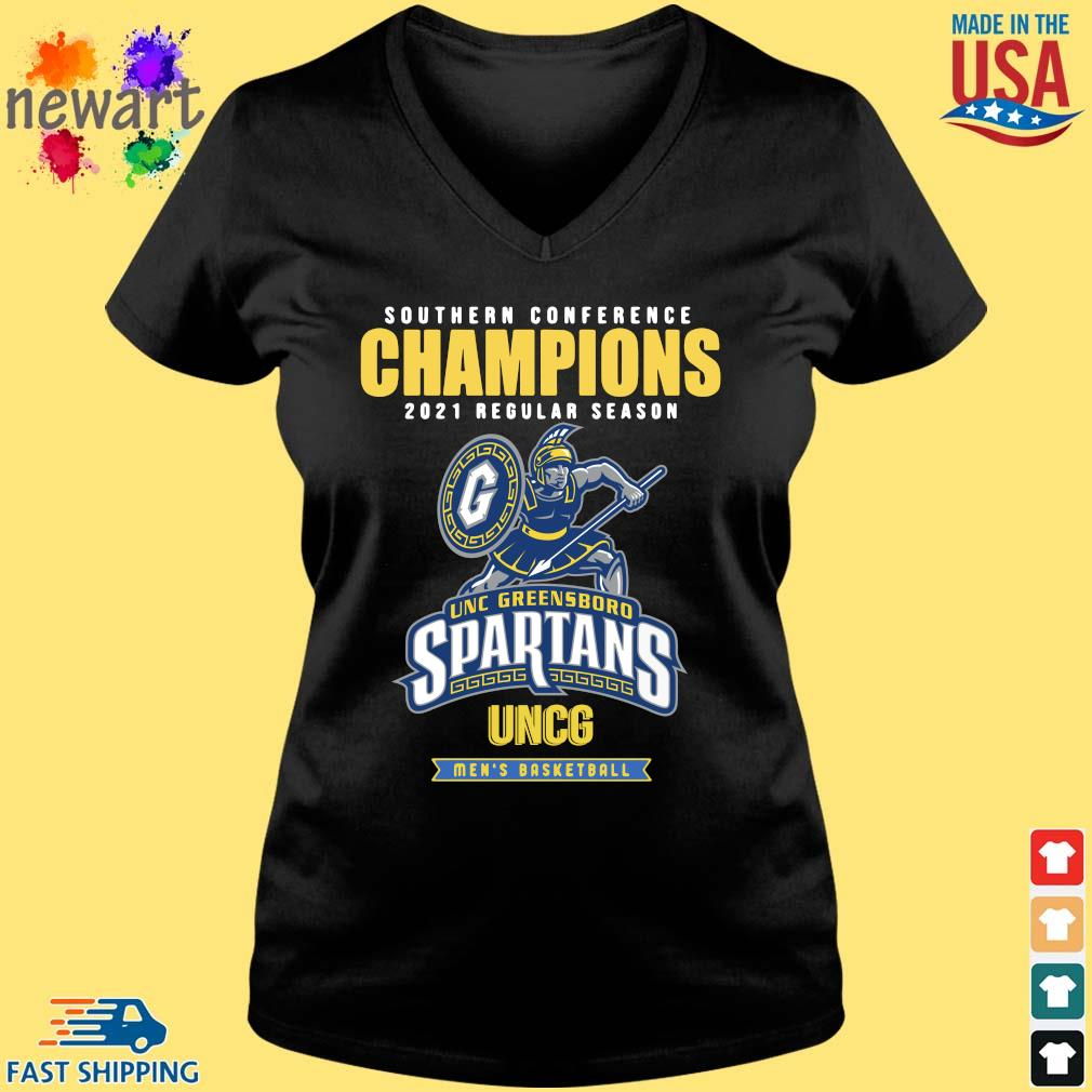 Southern Conference Champions 2021 Regular Season Unc Greensboro Spartans Uncg Men's Basketball Shirt Vneck den