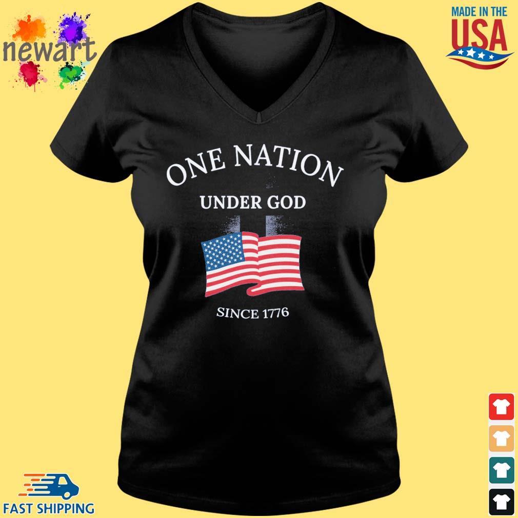 One nation under god since 1776 American flag Vneck den