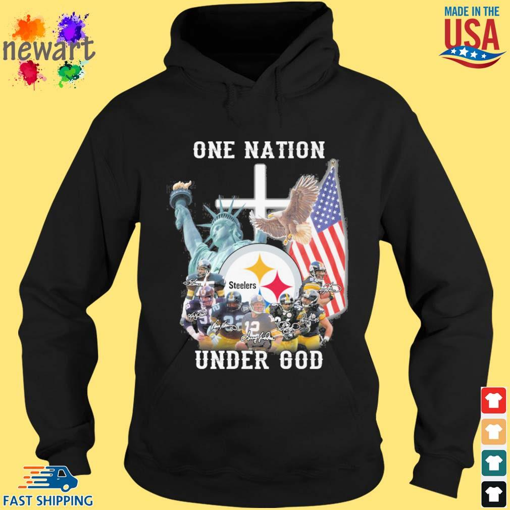 Pittsburgh Steelers football team one nation under god signatures hoodie den