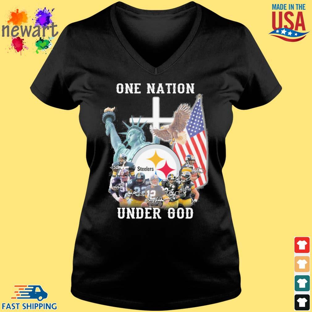 Pittsburgh Steelers football team one nation under god signatures Vneck den