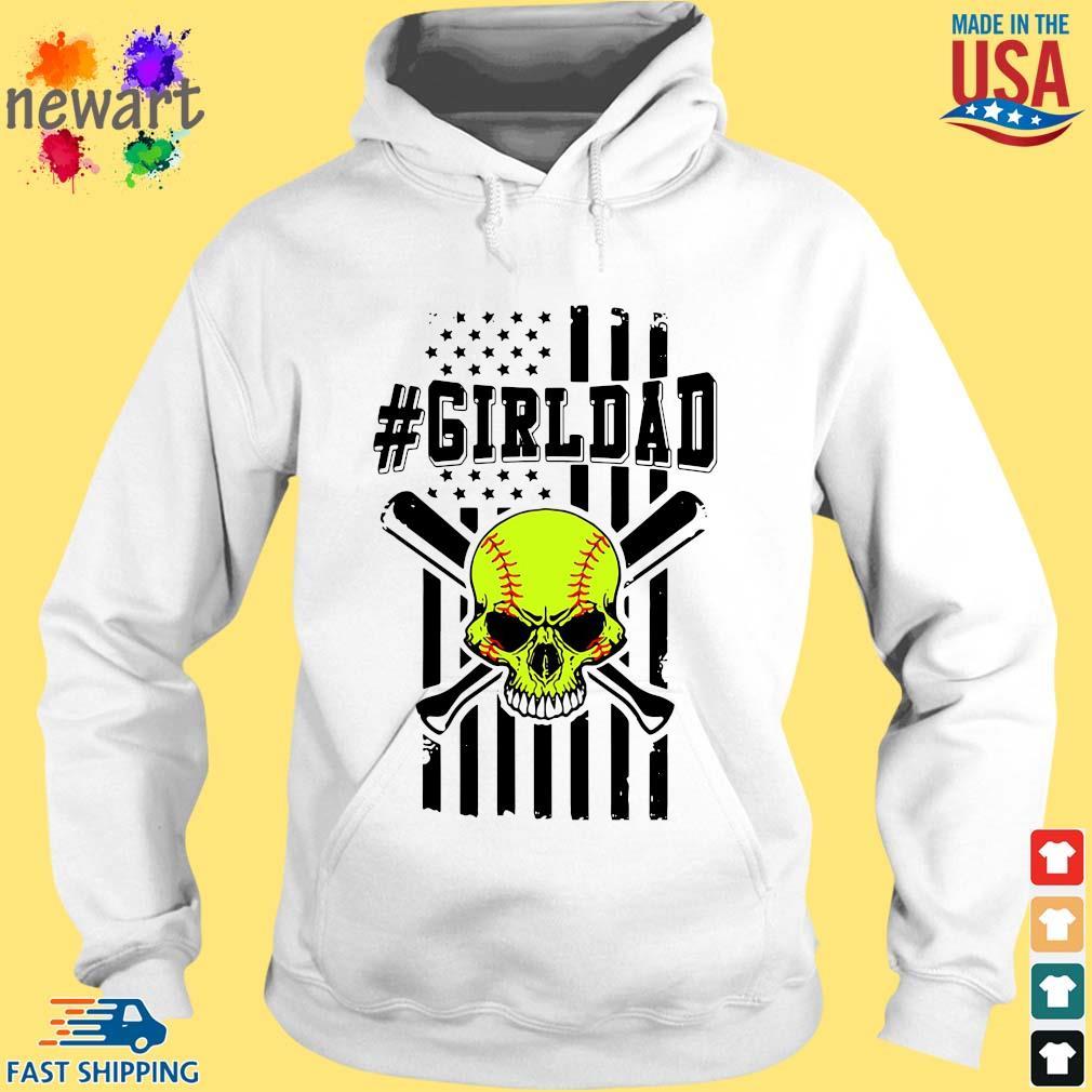 Skull softball #girldad American flag hoodie trang