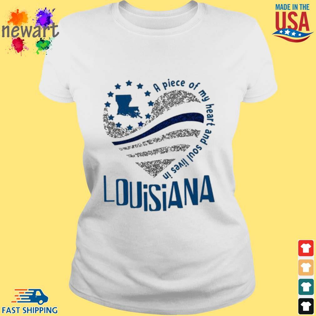A Piece Of My Heart And Soul Lives In Louisiana Blue Flag Shirt ladies trang