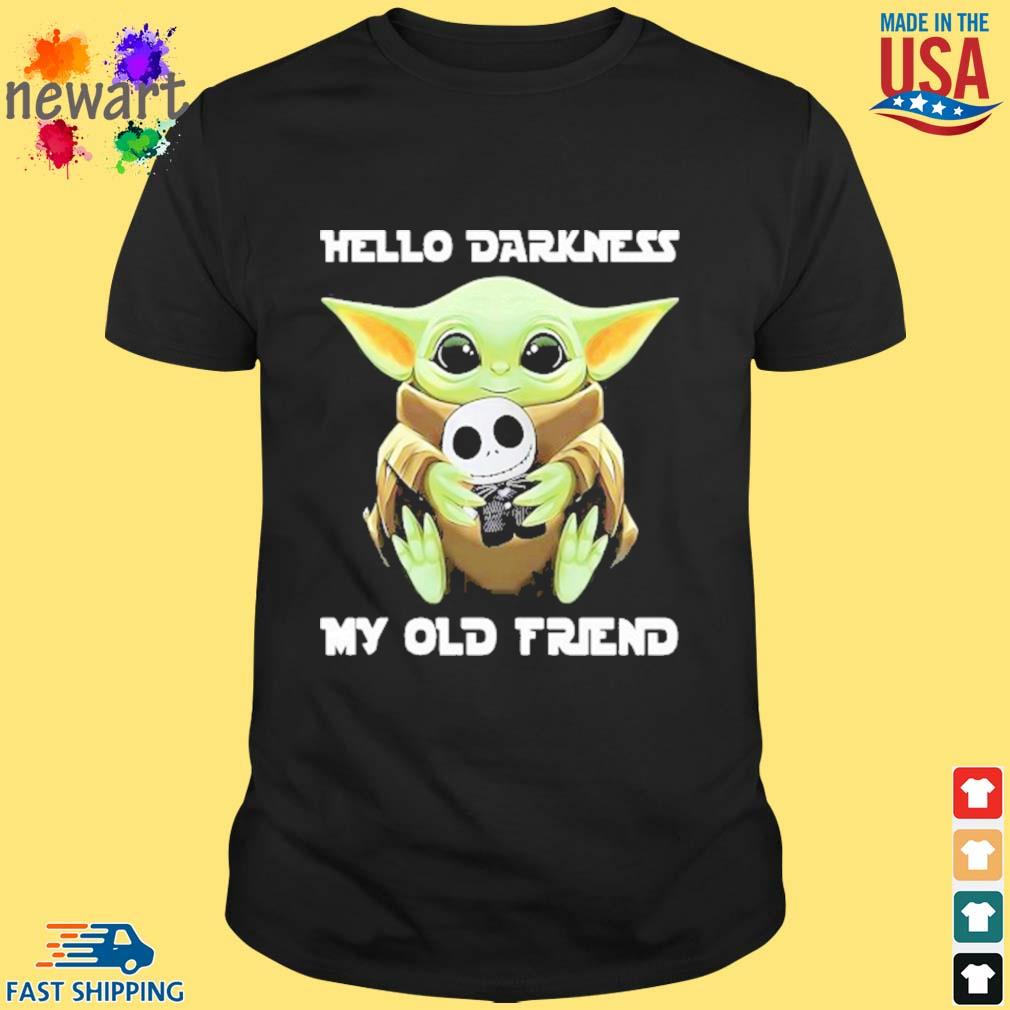 Baby Yoda Hug Jack Skellington Hello Darkness My Old Friend Shirt
