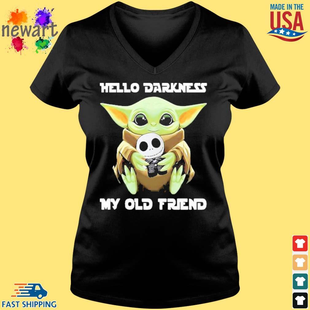 Baby Yoda Hug Jack Skellington Hello Darkness My Old Friend Shirt Vneck den