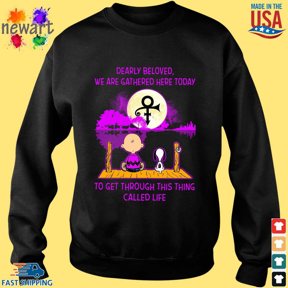 Snoopy and charlie brown dearly beloved we are gathered here today to get through this thing called life guitar shirt (1) Sweater den