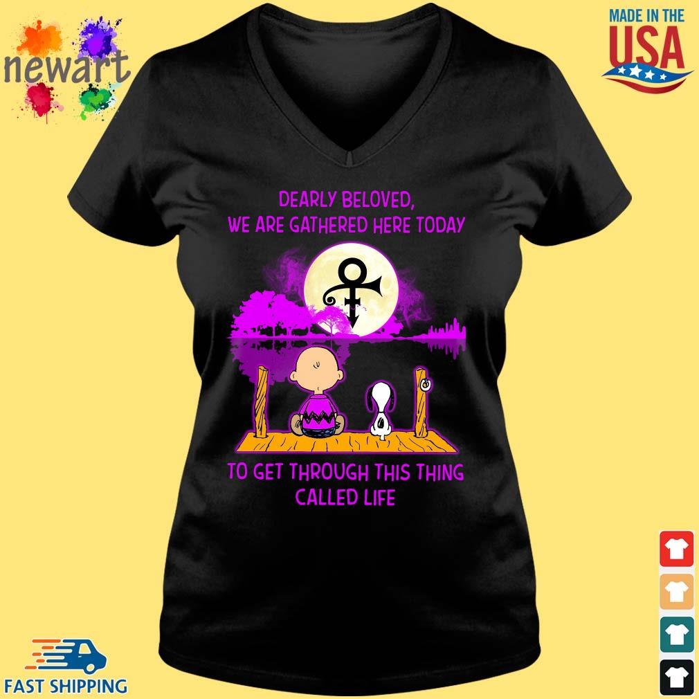 Snoopy and charlie brown dearly beloved we are gathered here today to get through this thing called life guitar shirt (1) Vneck den
