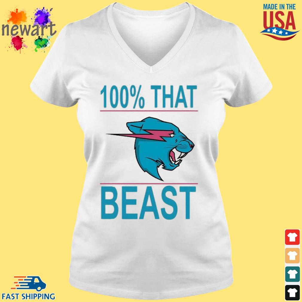 100% That Beast Mr Beast Shirt vneck trang