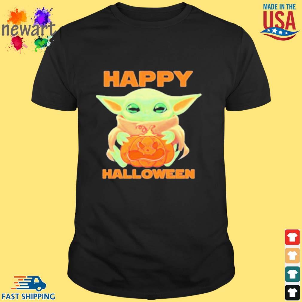 Baby Yoda Hug Pumpkin Happy Halloween Shirt