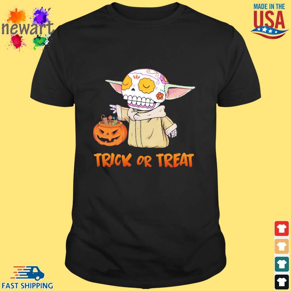 Baby Yoda pumpkin trick or treat halloween shirt