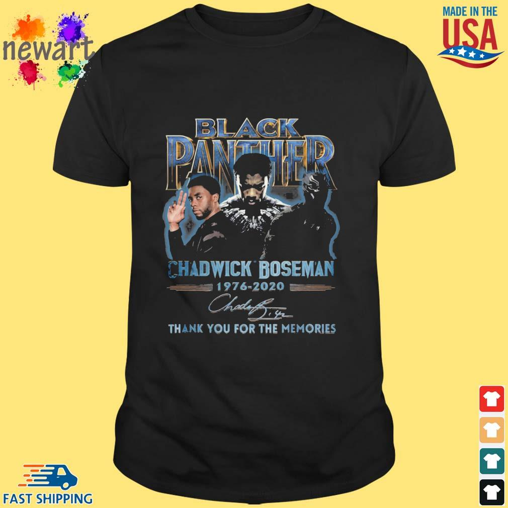 Black Panther Chadwick Boseman 1976-2020 thank you for the memories signature shirt