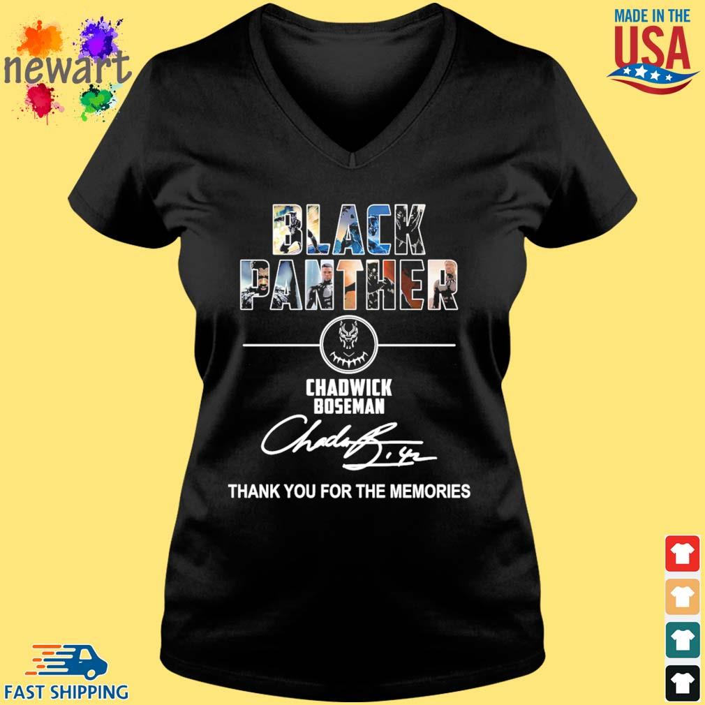 Black Panther Chadwick boseman thank you for the memories signature s Vneck den