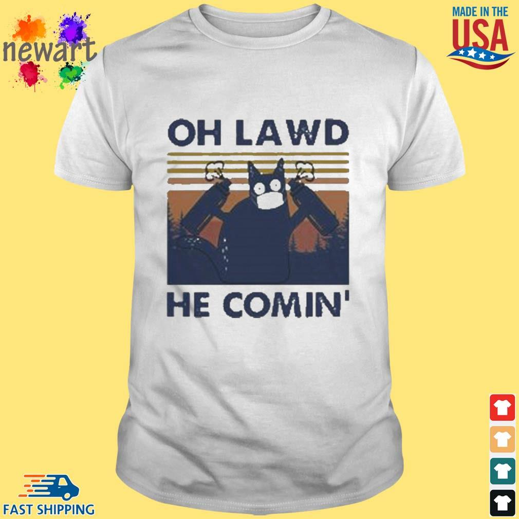 Cat face mask oh lawd he comin' vintage shirt