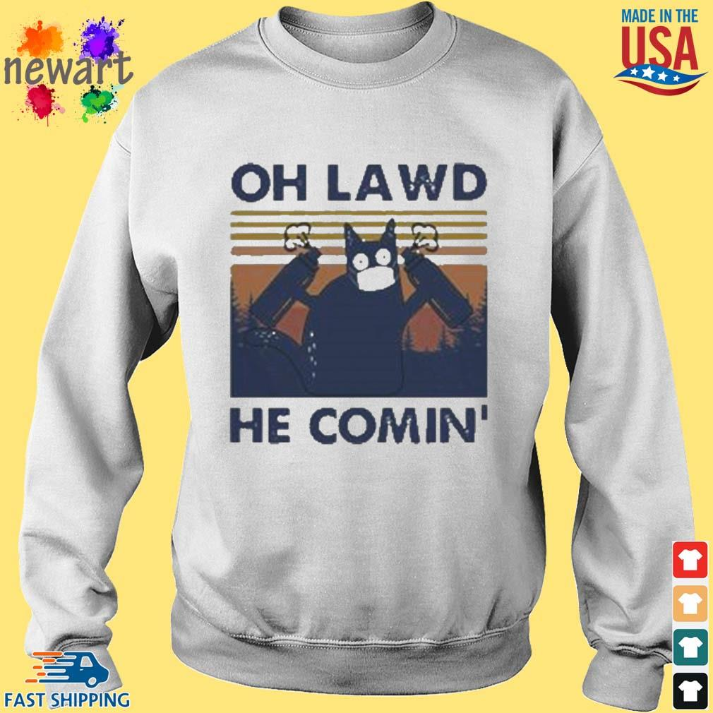 Cat face mask oh lawd he comin' vintage s Sweater trang