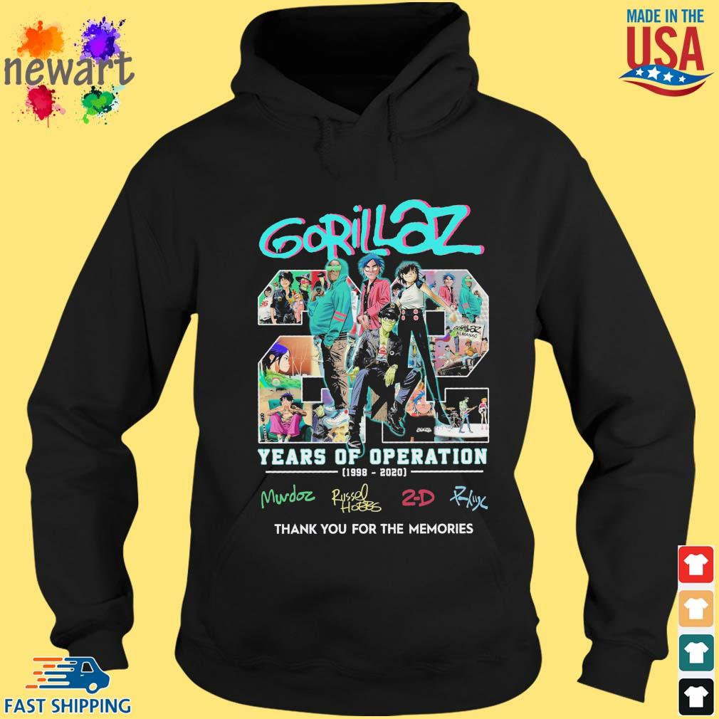 gorillaz 22 years of operation 1998-2020 thank you for the memories s hoodie den