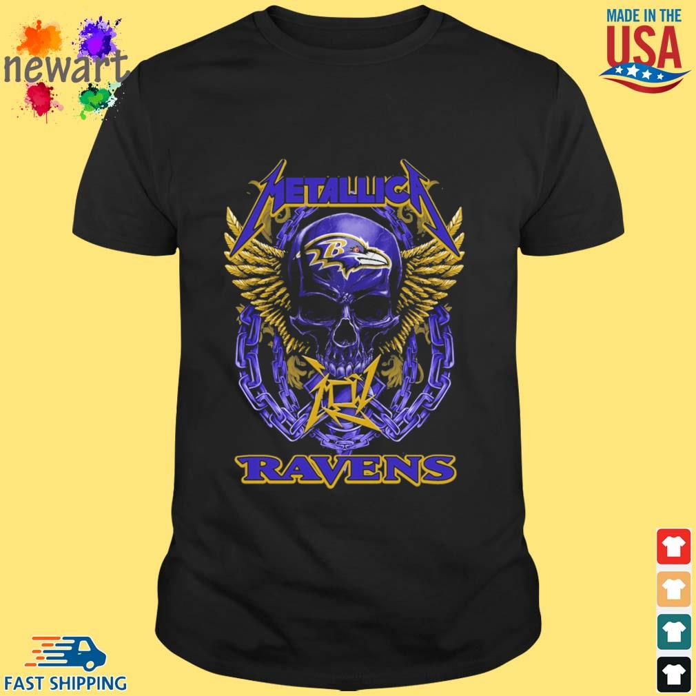 Skull metallica Baltimore Ravens logo shirt