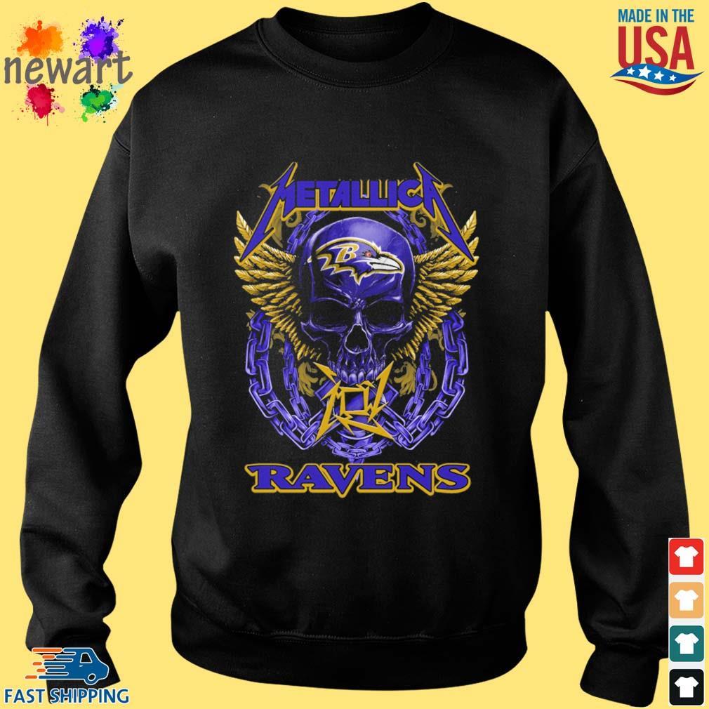 Skull metallica Baltimore Ravens logo s Sweater den