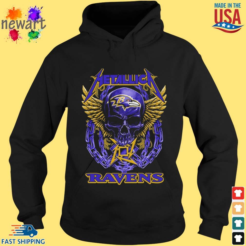 Skull metallica Baltimore Ravens logo s hoodie den