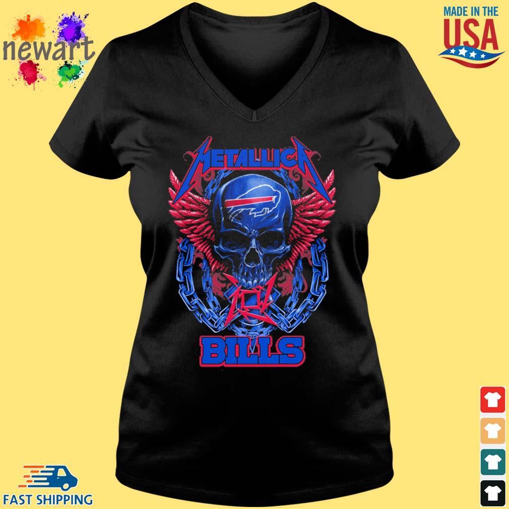 Skull metallica Buffalo Bills logo s Vneck den
