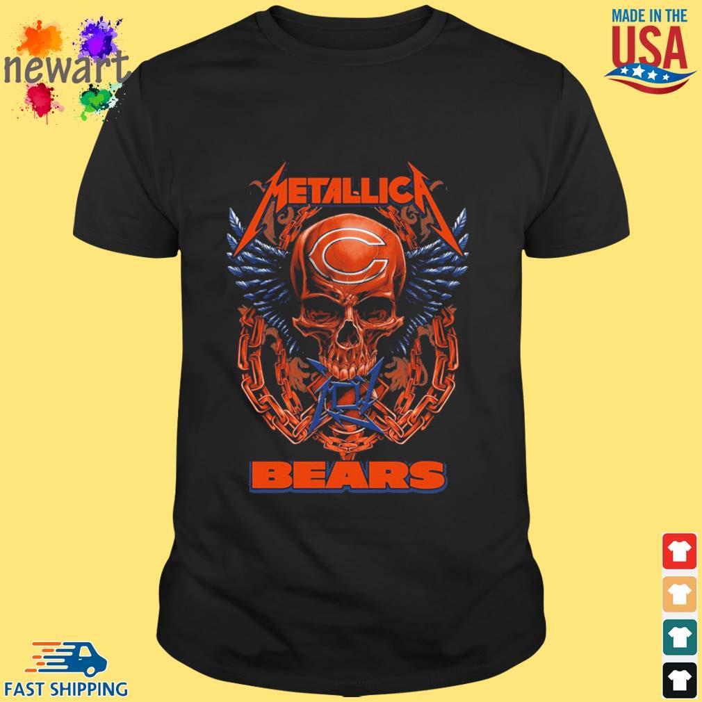 Skull metallica Chicago Bears logo shirt