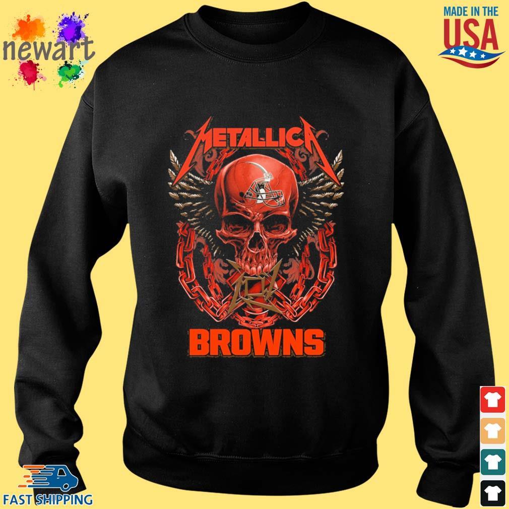 Skull metallica Cleveland Browns logo s Sweater den