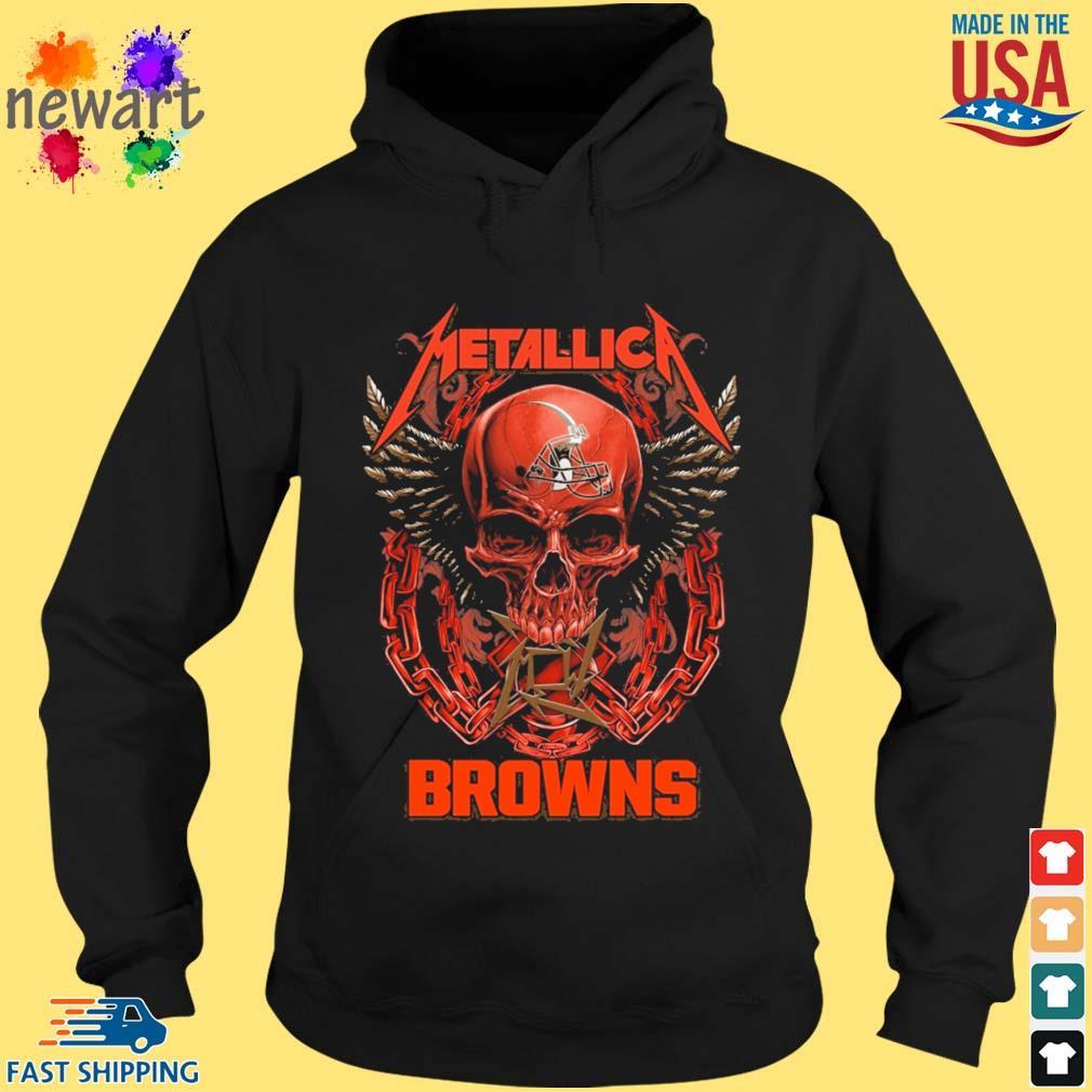 Skull metallica Cleveland Browns logo s hoodie den