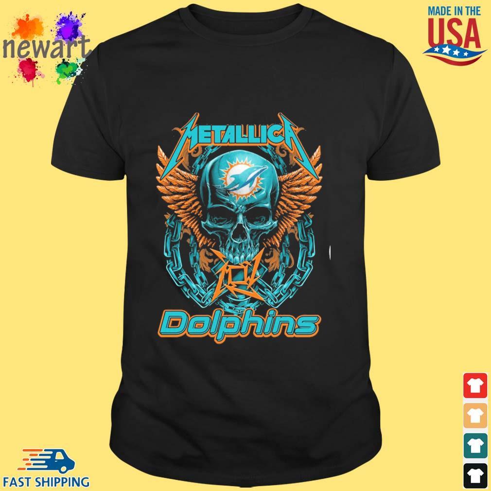 Skull metallica Miami Dolphins logo shirt