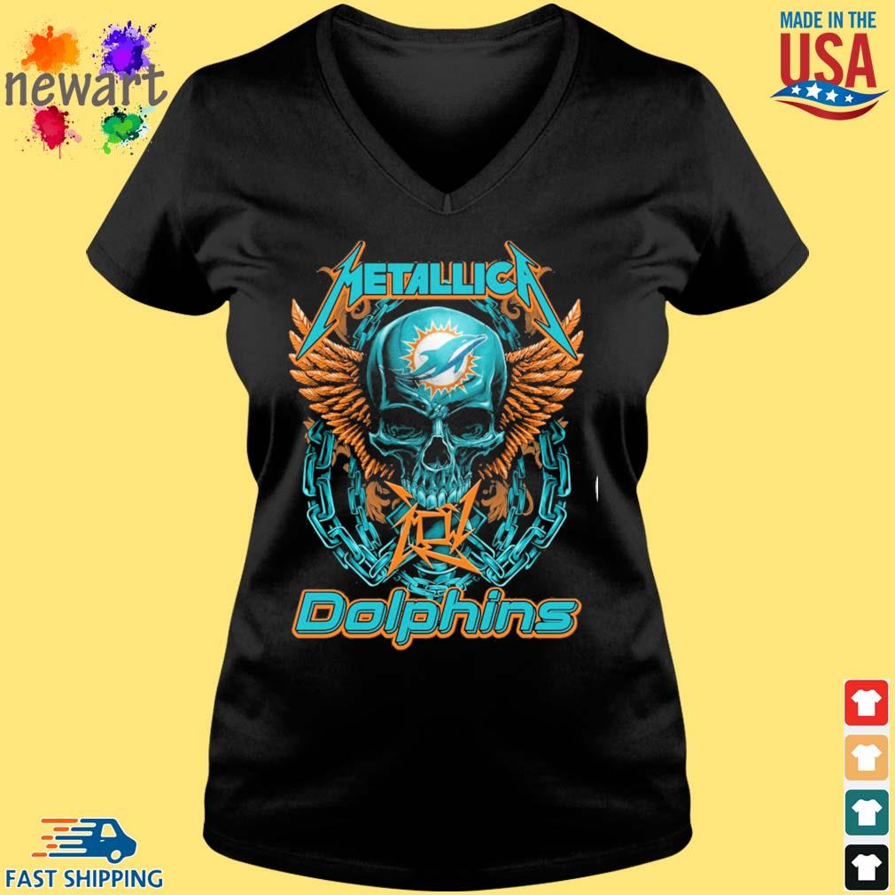 Skull metallica Miami Dolphins logo s Vneck den