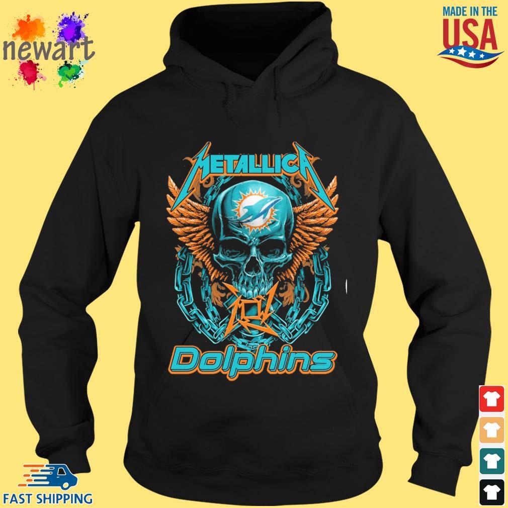 Skull metallica Miami Dolphins logo s hoodie den