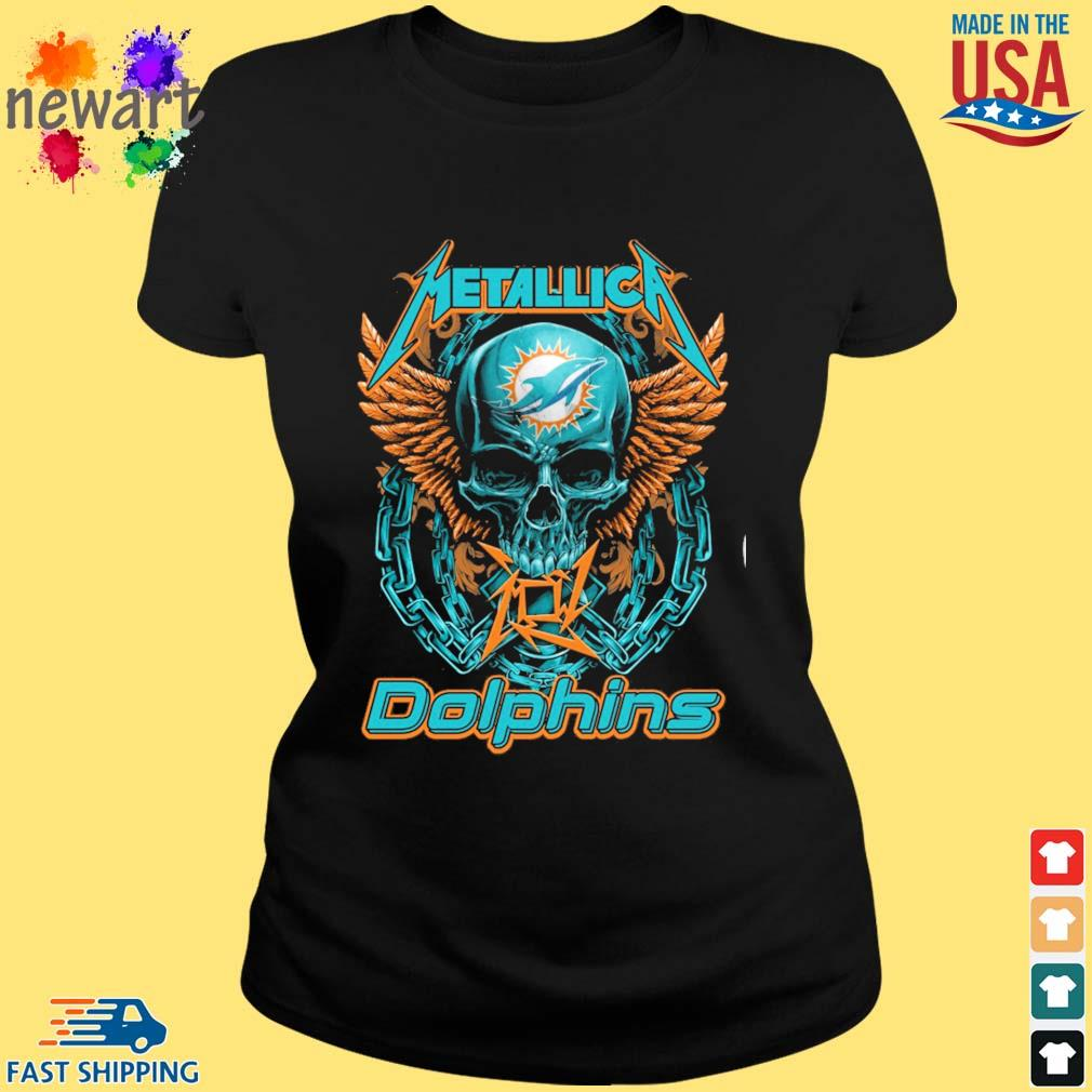 Skull metallica Miami Dolphins logo s ladies den