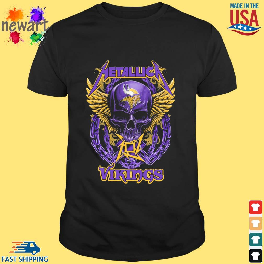 Skull metallica Minnesota Vikings logo shirt