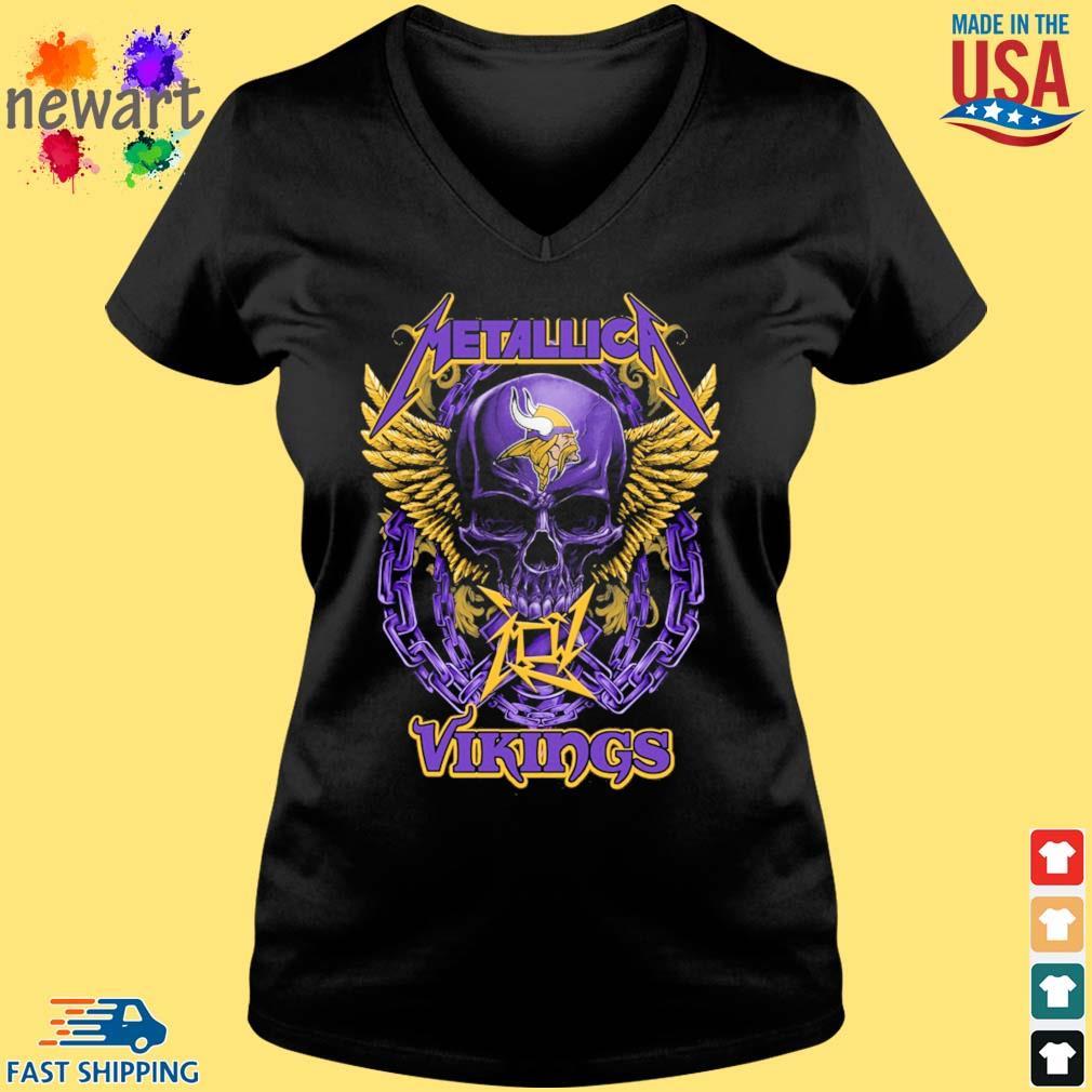 Skull metallica Minnesota Vikings logo s Vneck den