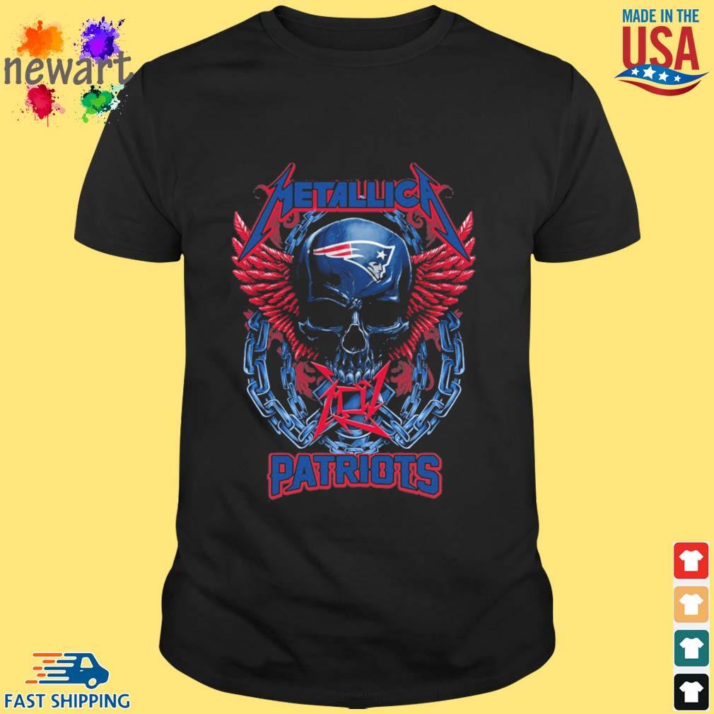 Skull metallica New England Patriots logo shirt