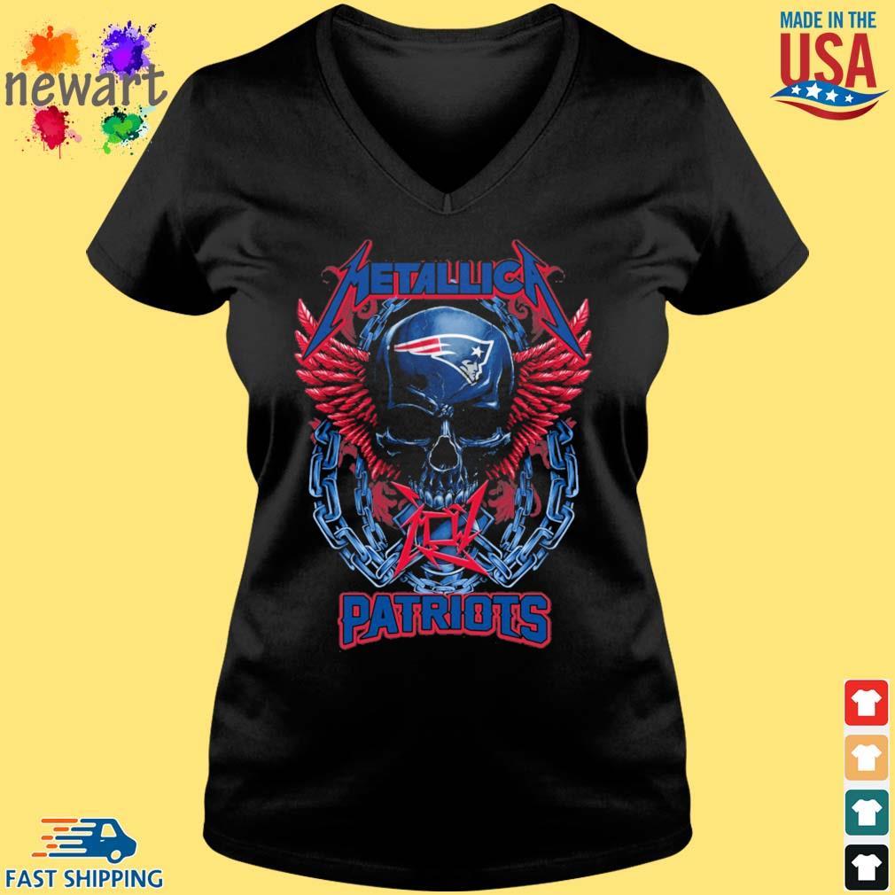 Skull metallica New England Patriots logo s Vneck den