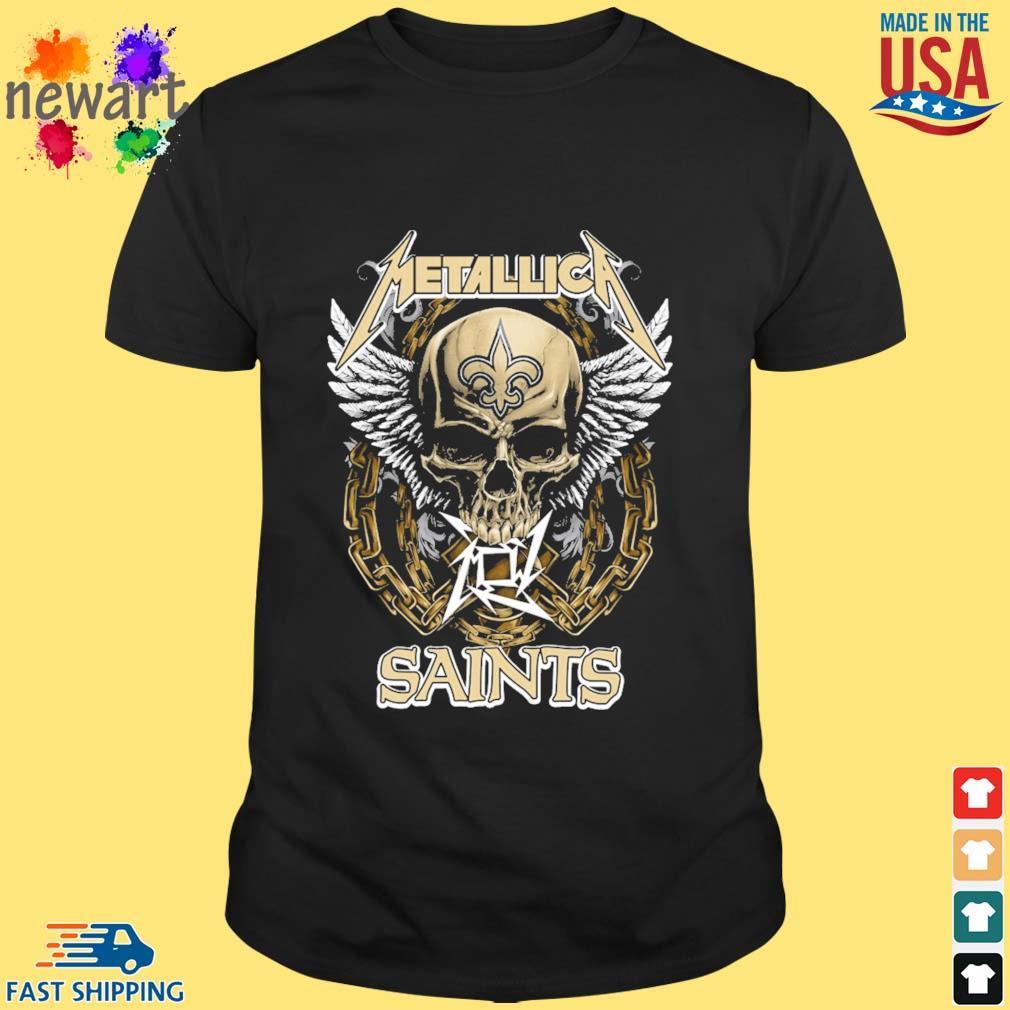 Skull metallica New Orleans Saints logo shirt