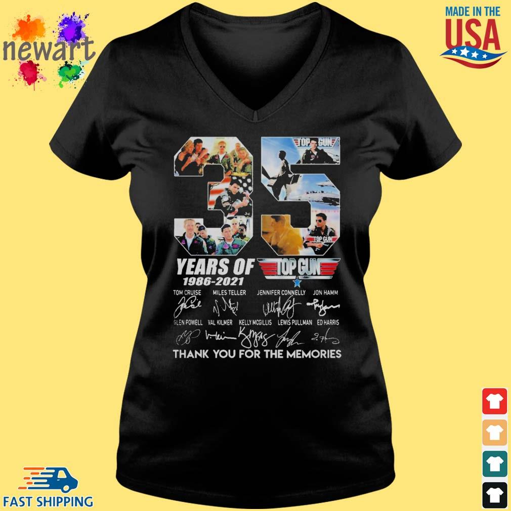 Top gun 35 years of 1986-2021 thank you for the memories signature s Vneck den