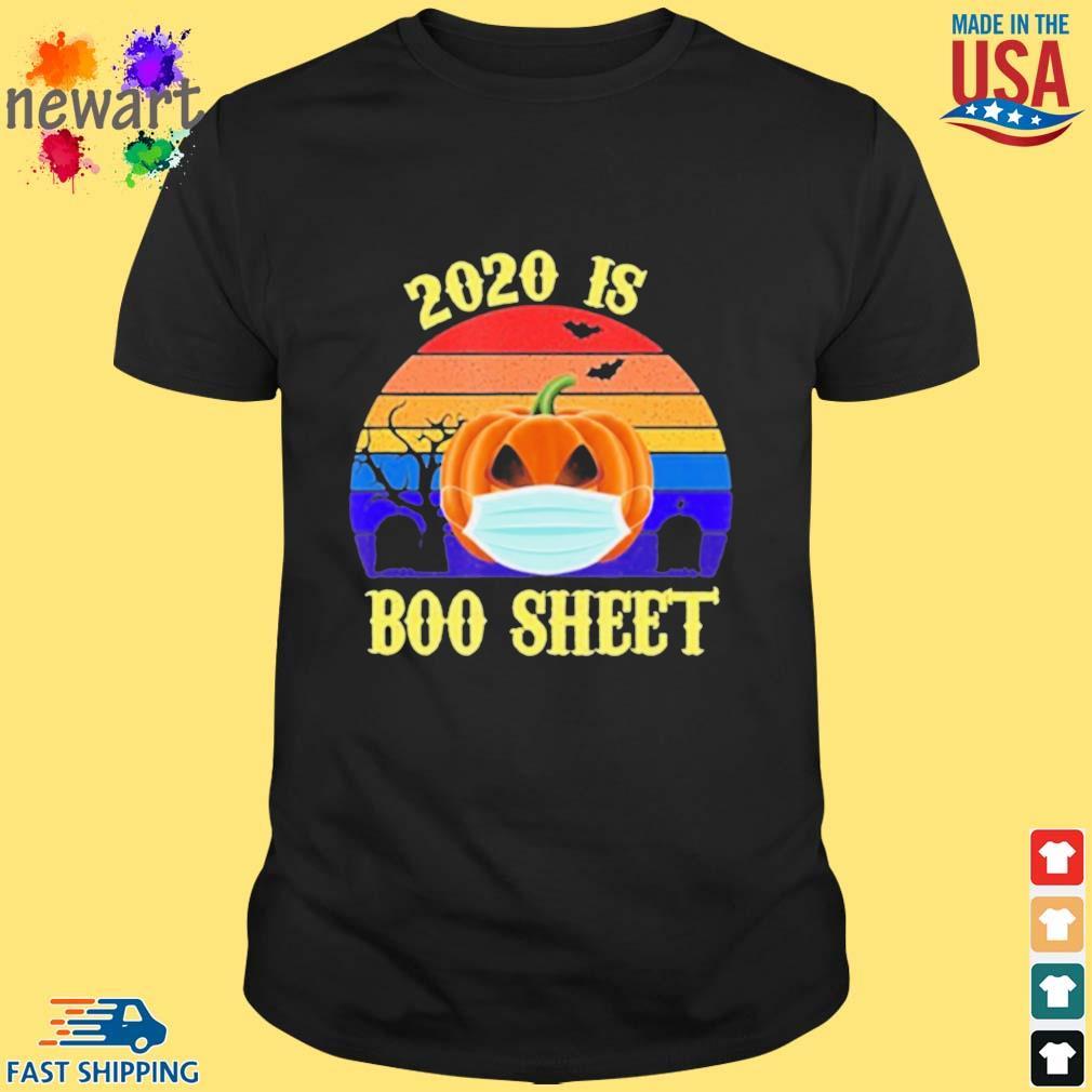 2020 Is Boo Sheet Pumpkin Wearing A Mask Halloween vintage shirt