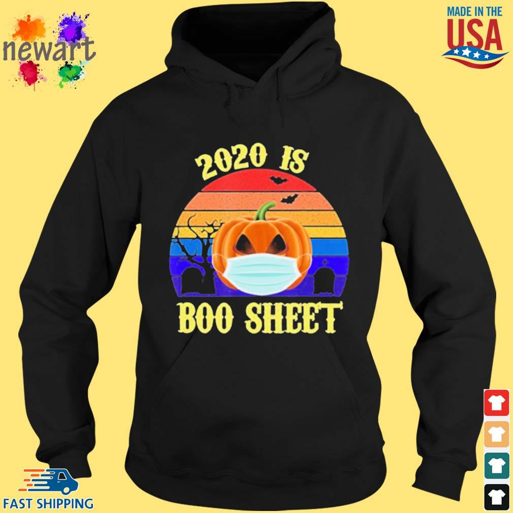 2020 Is Boo Sheet Pumpkin Wearing A Mask Halloween vintage s hoodie den