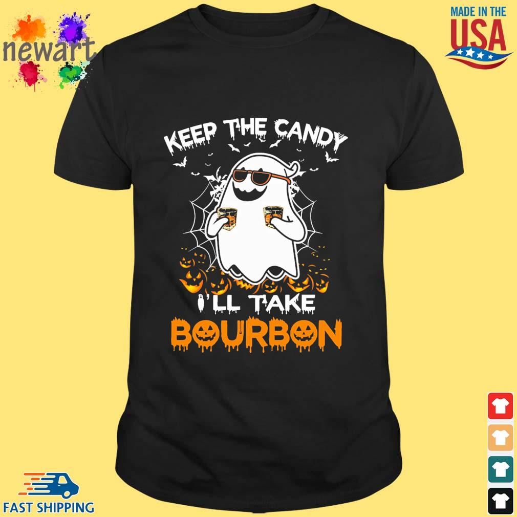 Ghost boo keep the candy I'll take bourbon Halloween shirt