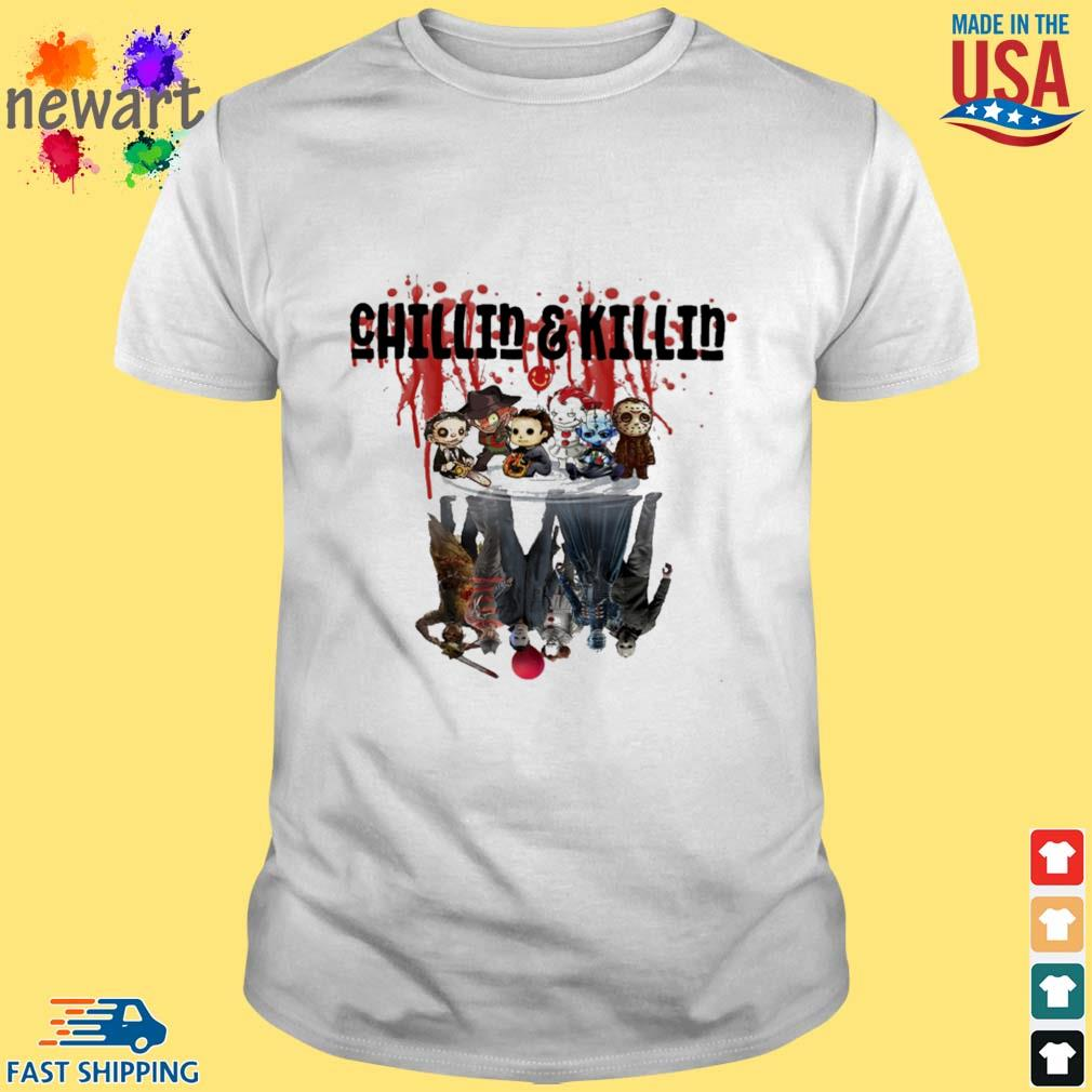 Horror Character chilled and killed water mirror reflection Halloween shirt