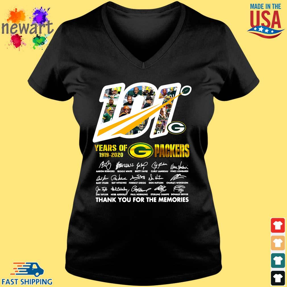 100 years of 1919-2020 Green Bay Packers thank you for the memories signatures s Vneck den