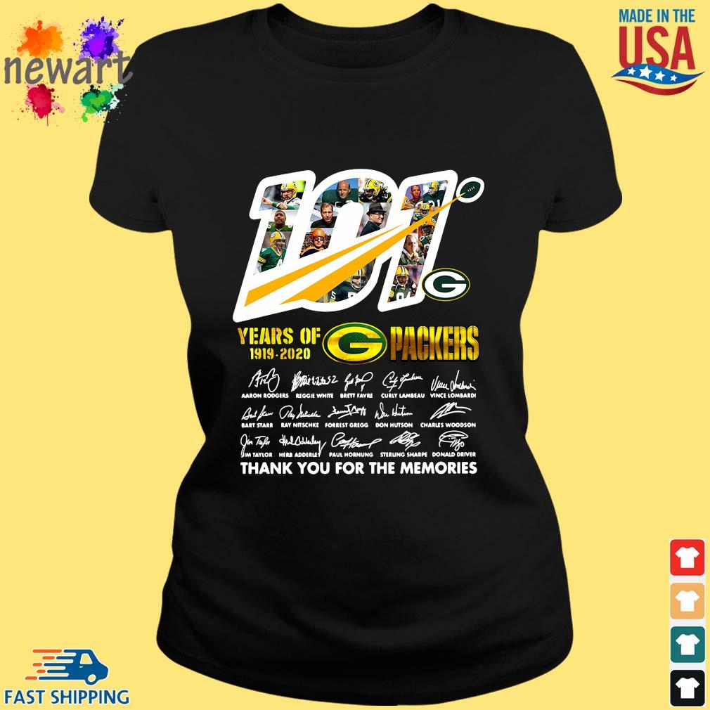 100 years of 1919-2020 Green Bay Packers thank you for the memories signatures s ladies den