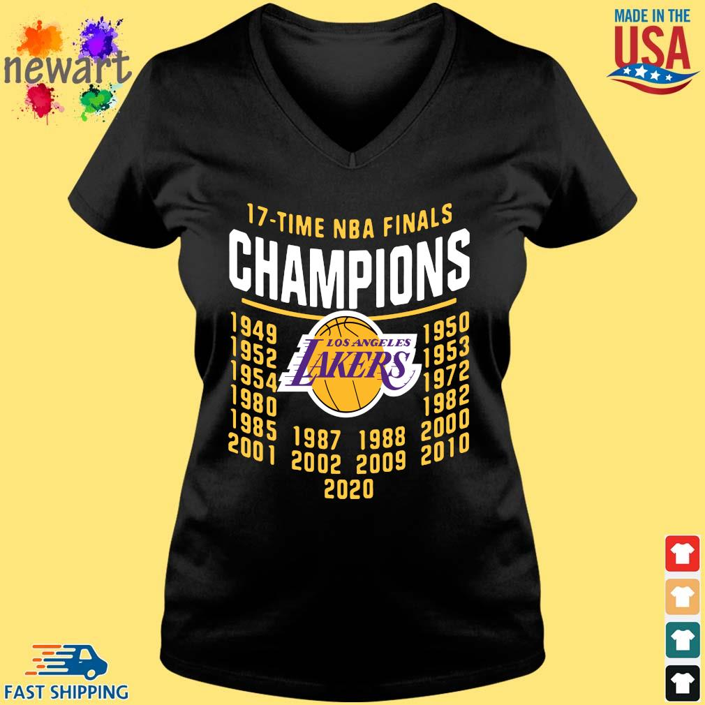 17 Time NBA Finals Champions Los Angeles Lakers Shirt Vneck den