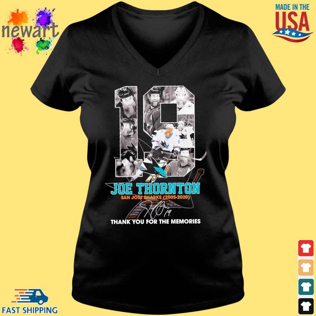 19 Joe Thornton San Jose Sharks 2005-2020 thank you for the memories signature s Vneck den