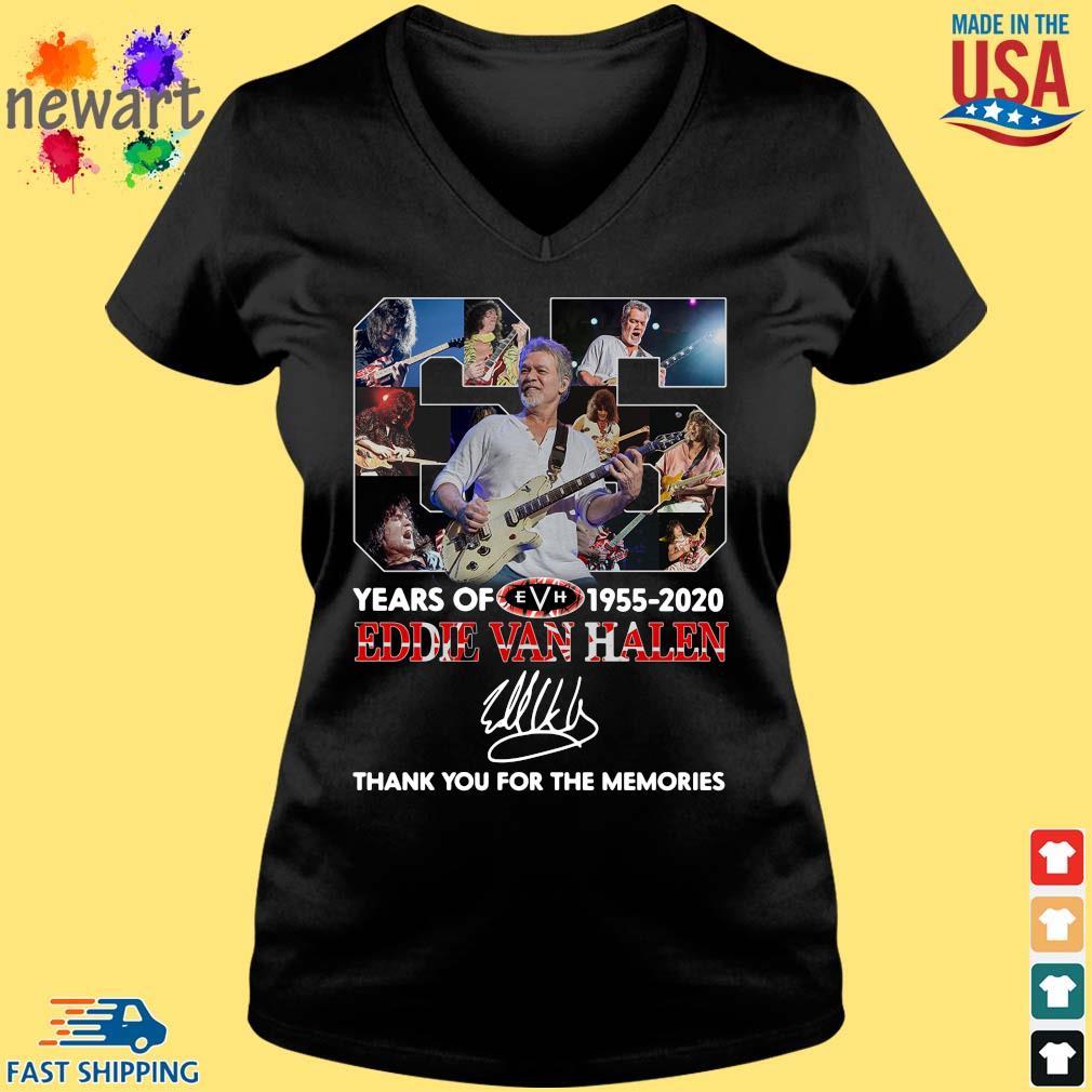 Eddie Van Halen 65 years 1955-2020 thank you for the memories signature s Vneck den