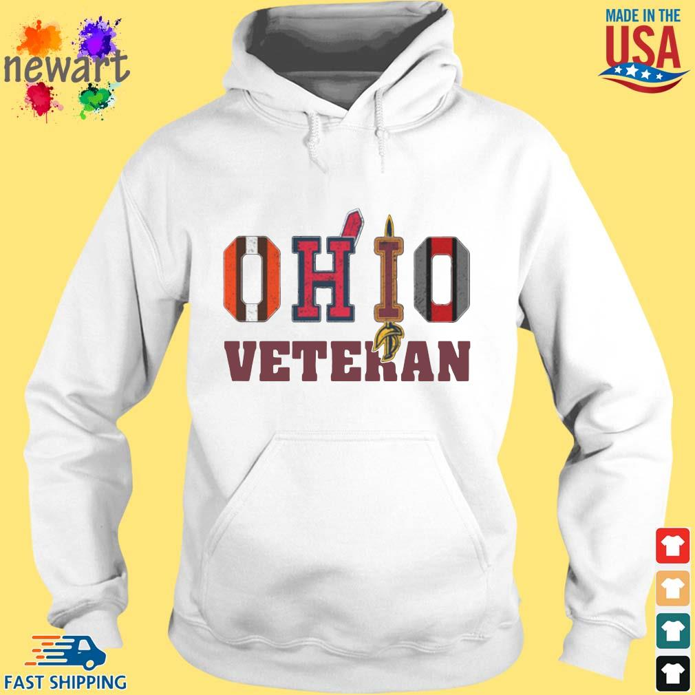Ohio Cleveland Browns Cleveland Indians Cleveland Cavaliers and Ohio State Buckeyes veteran s hoodie trang