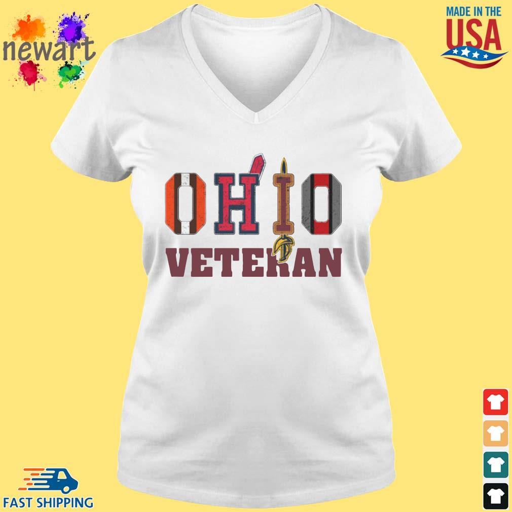 Ohio Cleveland Browns Cleveland Indians Cleveland Cavaliers and Ohio State Buckeyes veteran s vneck trang