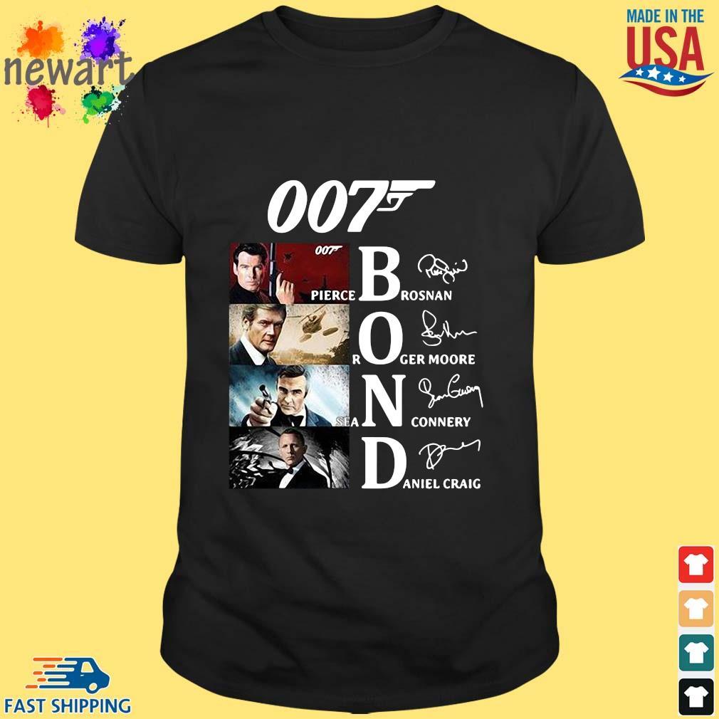 007 Pierce brosnan Roger Moore Sean Connery Daniel Craig signatures s Shirt den