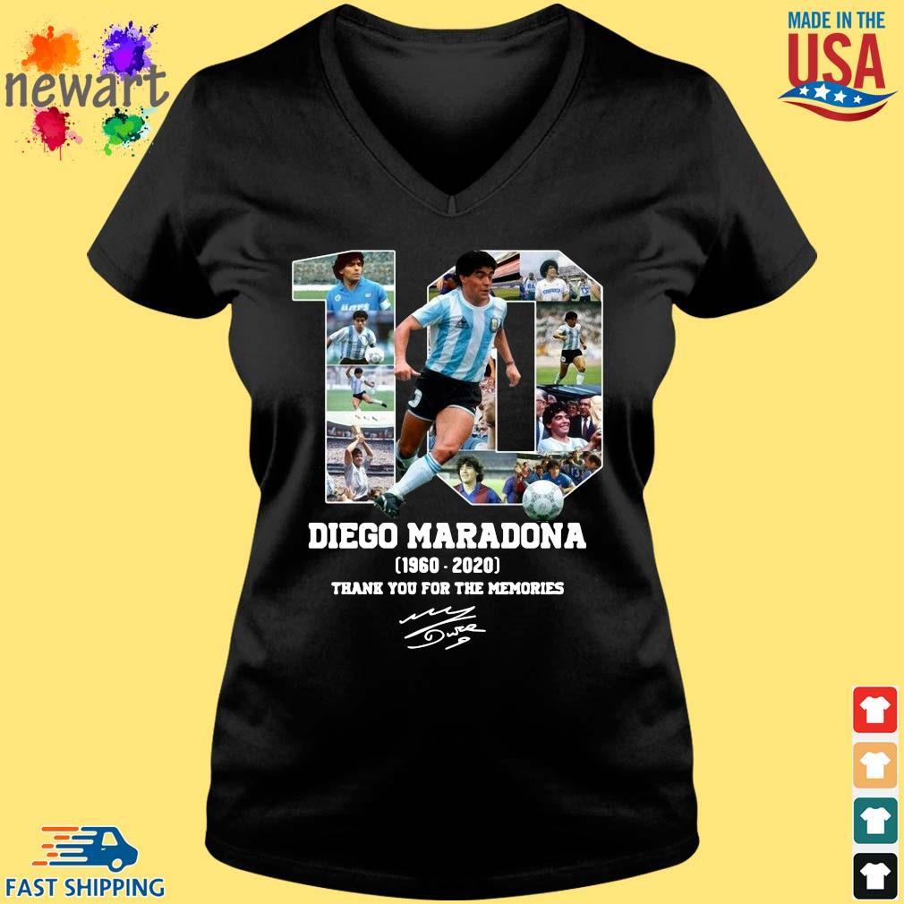 10 Diego Maradona 1960-2020 thank you for the memories signature s Vneck den