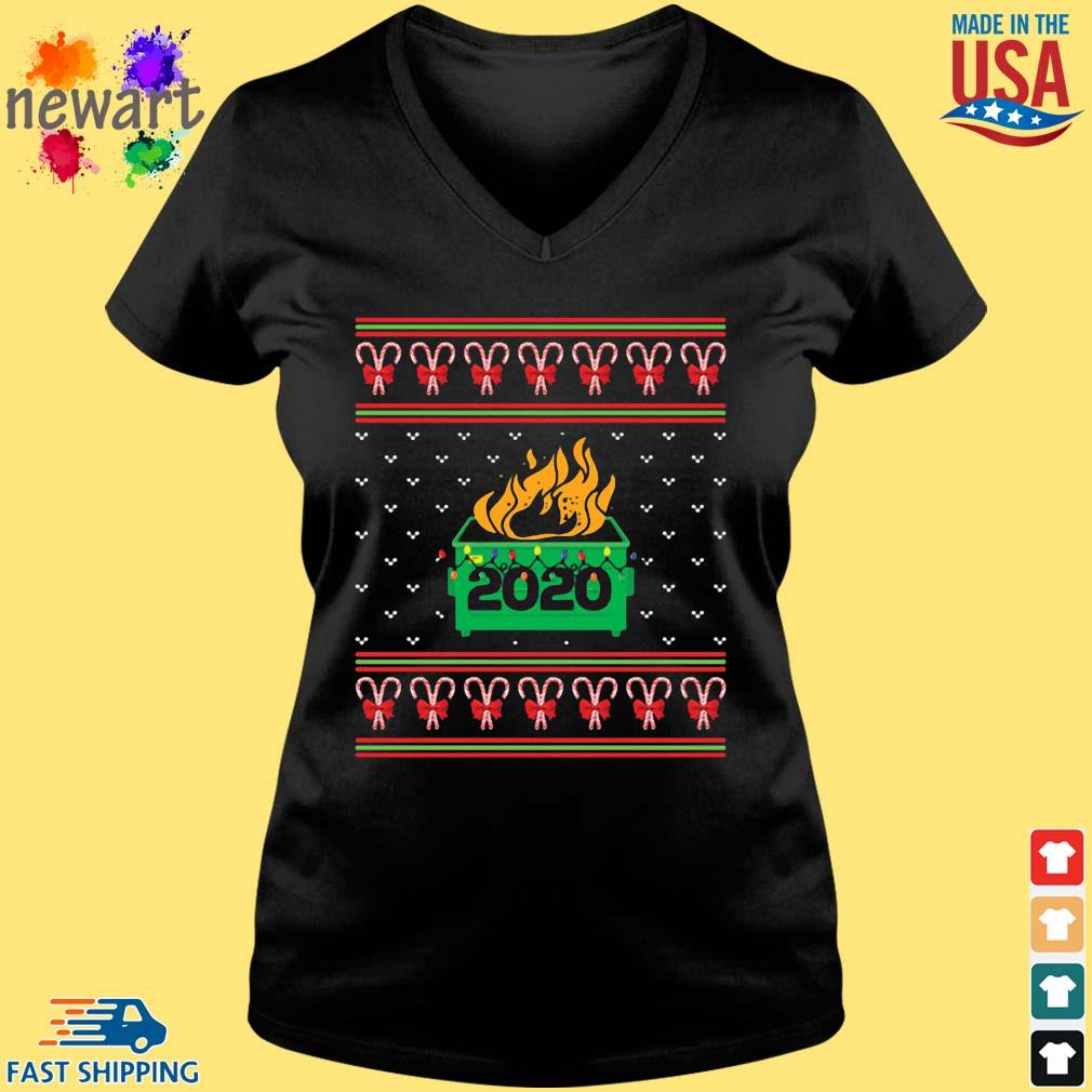 2020 Dumpster Fire Light Ugly Christmas Sweater Vneck den